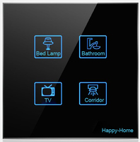 High End Hotel Resident Touch Wall Light Switch Waterproof Electrical LED Switches Free Customize Logo ButtonFree