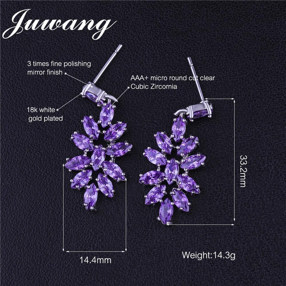JUWANG nouveau élégant fleur forme goutte déclaration boucles d'oreilles pour femme minuscule CZ argent couleur Noble mariée mariage Brincos bijoux 2