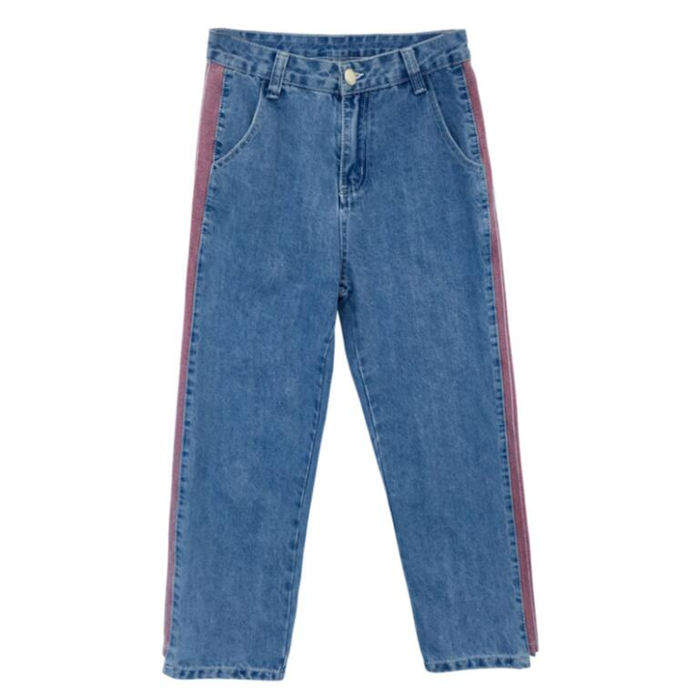 Plus size 5xl women Jeans 2018 spring summer Casual Denim Pants High Waist Ripped Jean Ladies Striped Side Bottom s1779 2