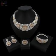 YULAILI New Coming Three Tones Pure Gold Color Nigerian Wedding Jewelry Set Bridal Accessories недорого