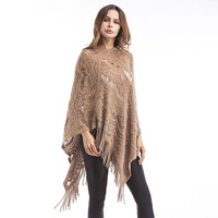 Women Oversized Sweaters Solid Tassel Batwing Sleeve Midi Pullovers Sweater Womens Cape Ponchoes Knitwear Sudadera Knitted