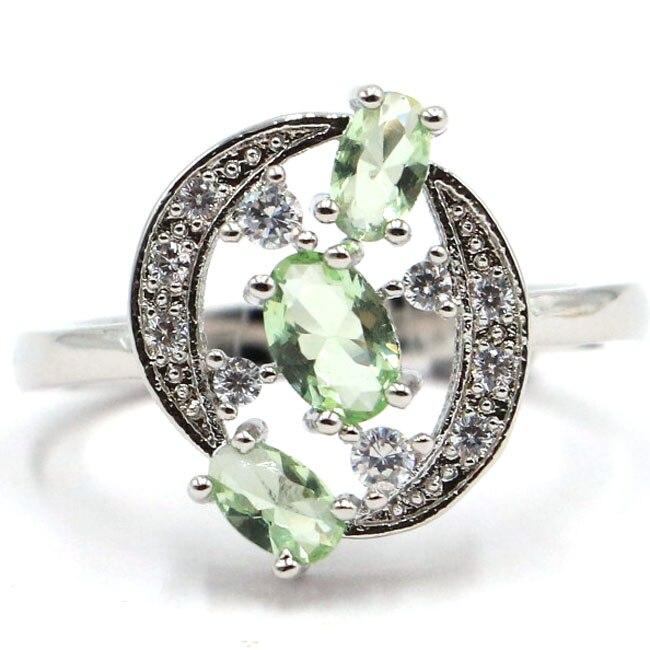 8.0# Deluxe Green Tsavorite Garnet White CZ Gift For Ladies 925 Silver Ring 18x12mm