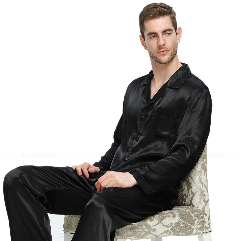 Image 3 - Mens Silk  Satin  Pajamas Set   Pyjamas  Set   Sleepwear  Loungewear  S~4XL-in Men's Pajama Sets from Underwear & Sleepwears