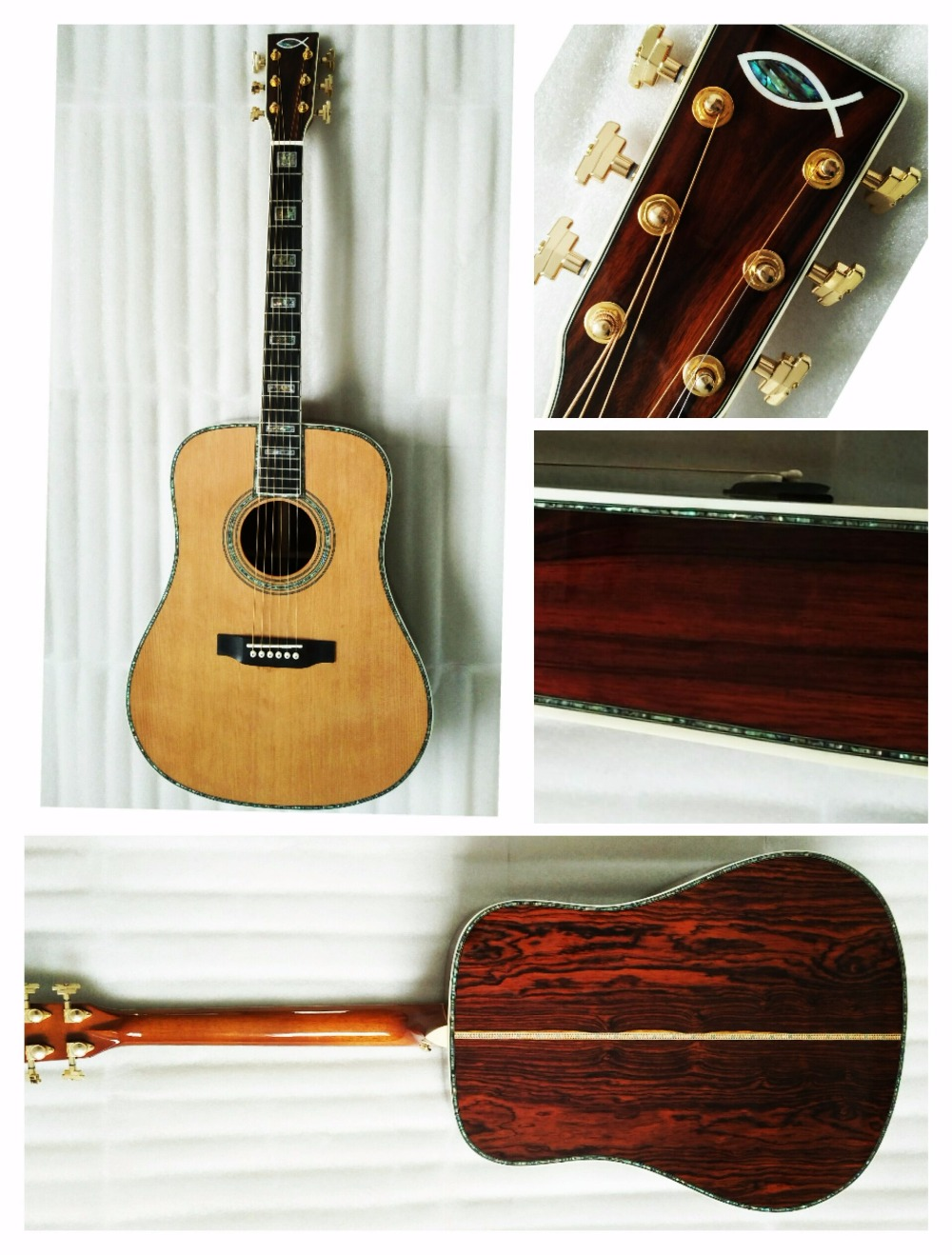 free shipping AAAA all solid cocobolo acoustic guitar custom D body shape top quality OEM guitars free shipping best price wholesale top quality solid spruce top 12 strings j200 sunburst color acoustic guitar 14815