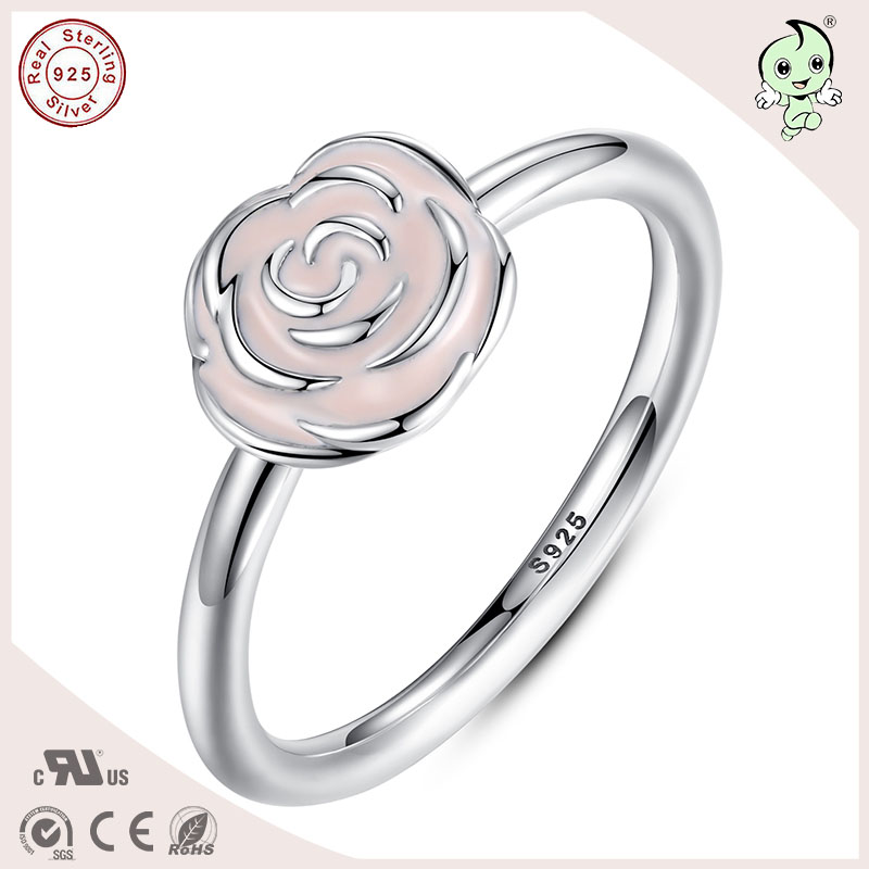 P&R products Hotsale Romantic Pink Rose Shape Real Silver Material Flower Finger Ring for women