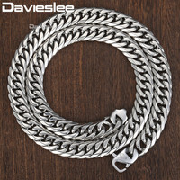 Davieslee Double Curb Cuban Link Chain Necklace Men 316L Stainless Steel Silver Color DHN57