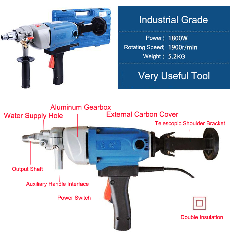 Machine Electric Drill Diamond Drill With Water Source(hand-held) 1800W160mm Concrete Core Drill Diamond Power Tools