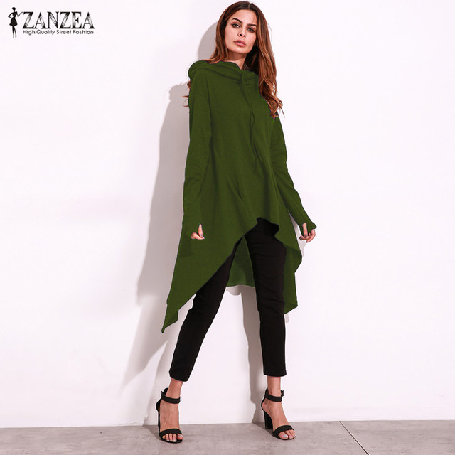 2cbd3943554 2018 ZANZEA Women Solid Irregular Hem Long Sleeve Autumn Hooded Hoodies  Casual Sweatshirt Pullover Long Tops