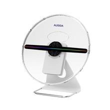 AUSIDA 30 ซม.3D โฮโลแกรมพัดลมที่ไม่ซ้ำกันการออกแบบสิทธิบัตร,แบตเตอรี่ Powered holograma โฆษณาโลโก้โปรเจคเตอร์ LED พัดลมจอแสดงผล