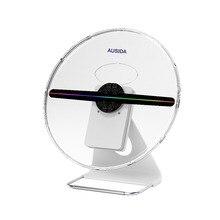 Ausida 30 cm 3d 홀로그램 팬 독특한 디자인 특허, 배터리 전원 holograma 광고 로고 프로젝터 led 팬 디스플레이