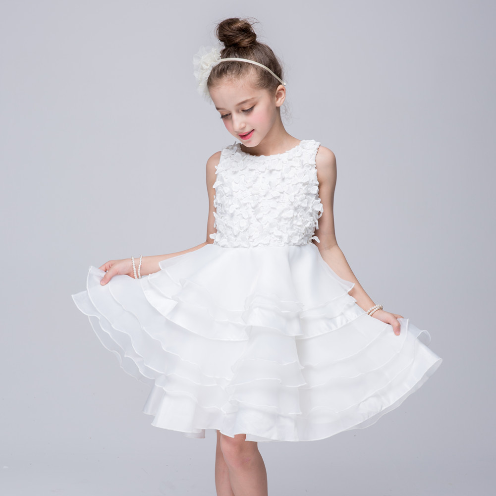 New 2017 girls formal wedding banquet ceremony Stereo flowers white princess dress Baby girl's clothes 3 4 5 6 7 8 years цены онлайн