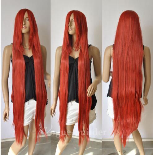 цена на 51'' Long Bang Copper Red Straight Cosplay Hair Wig 135+cap>>>girls Cosplay wig Free shipping