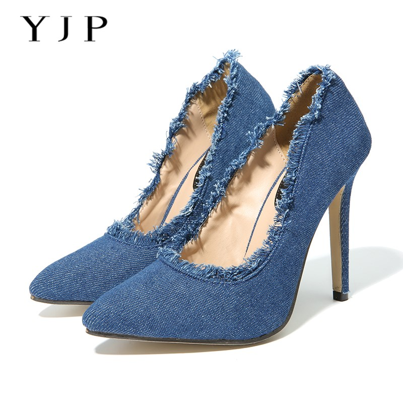 YJP Women Denim Pumps, Blue Fringe Pointed Toe 11cm Thin High Heels, Fashion Sexy Ladies Solid Tassels Slip On Heel Shoes fashion women ladies pumps solid color spring summer pointed toe thin heel shoes new arrival high quality brand slip on pumps
