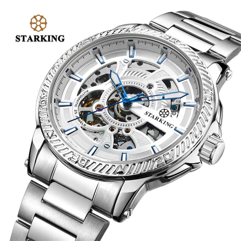 Top Brand STARKING Men Automatic Watch Fashion Modern Design Skeleton Mechanical Wristwatch Male Outdoor Sport Clock цена