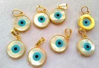 6pcs Round blue white mother of pearl shell Jewelry with Gold Wrapped Pendat Turkish evil eye beads DIY findings supplies 16m