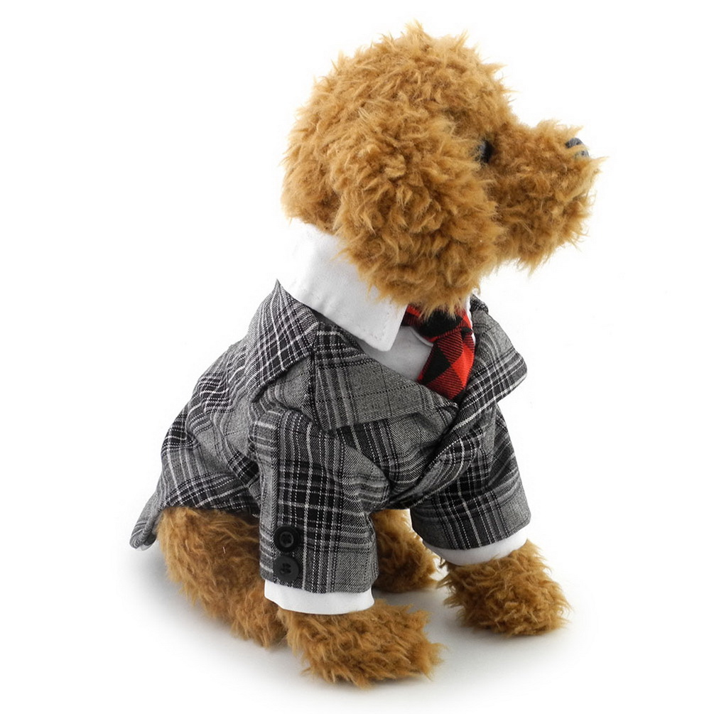 2017 new small dogcat classic plaid t shirt tuxedo suit red tie shirt pet puppy holiday halloween costume leopard coat jacket - Small Halloween Costumes