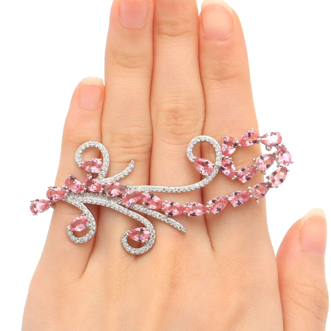 SheCrown New Designed Big Pink Morganites White CZ Silver Ring US SZ 11.0# 72x33mm