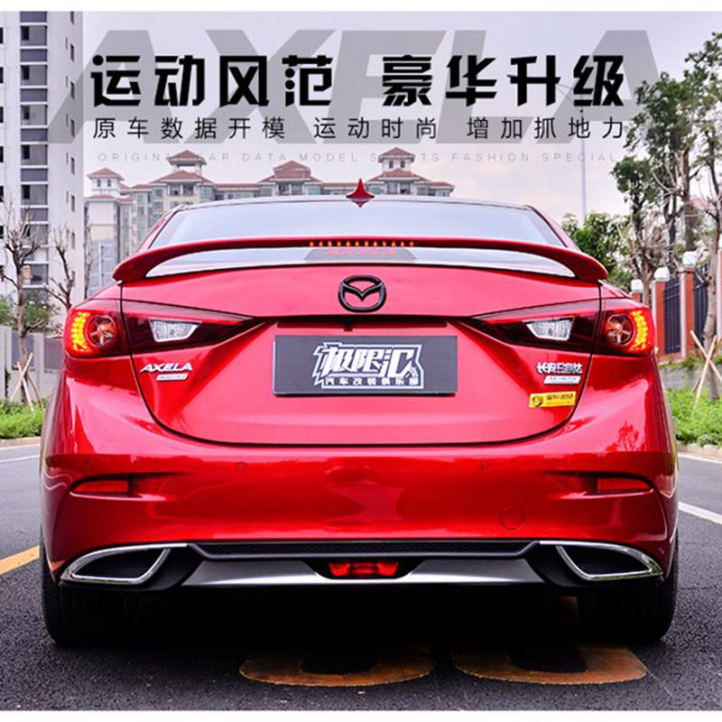 Clip type ABS Painted Car Rear Trunk Spoiler Wing For Mazda 3 AXELA or Mazda 6 Atenza 2014-2017 Rear Wing Spoiler With Led Light use for mazda 6 4doors sedan spoiler 2006 2013 mazda 6 spoiler high quality abs material car rear wing primer color for mazda 6