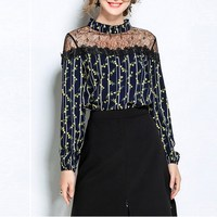 2017 Women Oversized Lace Floral See Through Splicing Tops Shirt Blouse OL Office Female Stand Collar