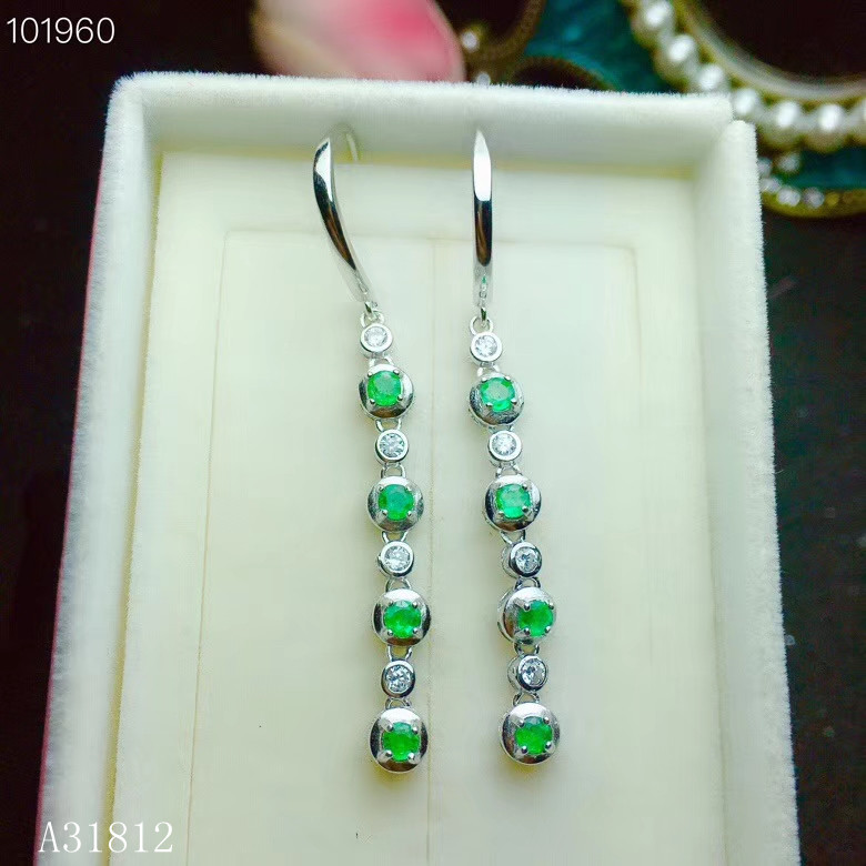 KJJEAXCMY boutique jewelry Supporting detection of 925 pure silver inlaid natural emerald female eardrop derfg