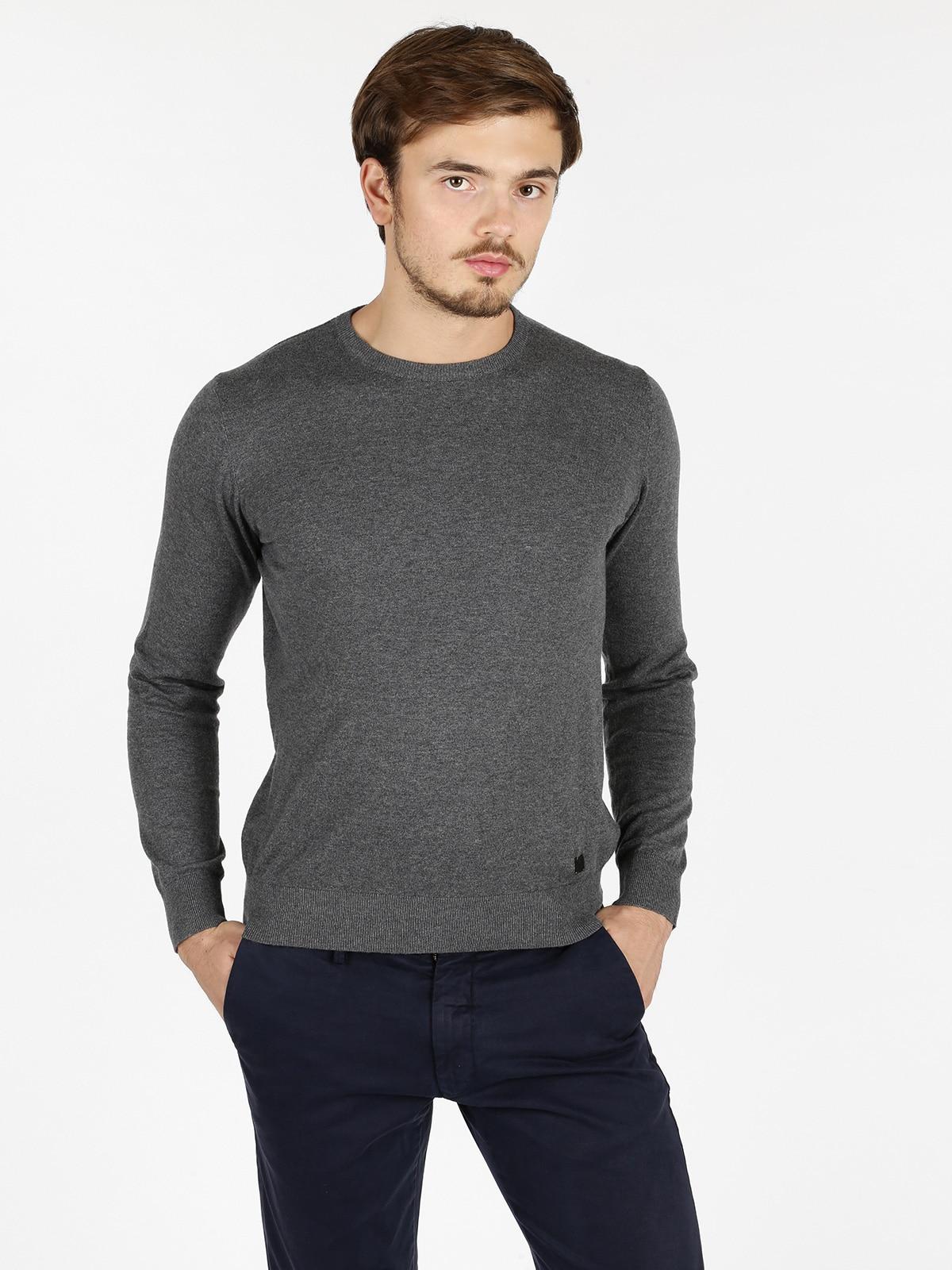 Cotton And Cashmere Sweater Round Neck-dark Gray
