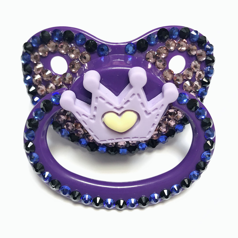 MIYOCAR Beautiful Handmade Bling Purple Adult Pacifier Adult Sized Cute Gem Pacifier Dummy ABDL Silicone Nipple Crown Pacifier