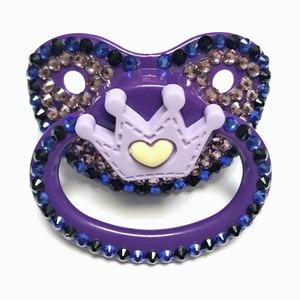 Image 1 - MIYOCAR ที่สวยงาม handmade bling สีม่วงผู้ใหญ่ pacifier ขนาดผู้ใหญ่น่ารักอัญมณี Pacifier Dummy ABDL ซิลิโคนหัวนมมงกุฎ pacifier