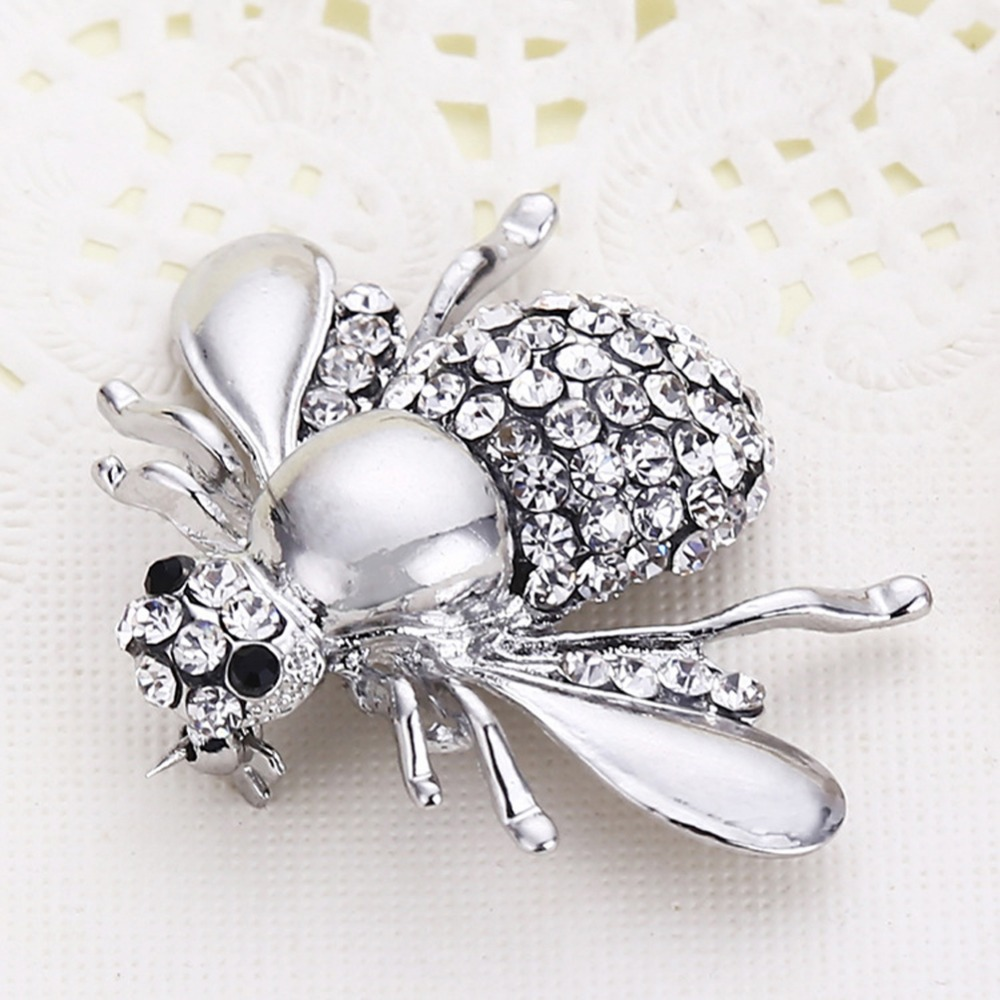 2017 New Fashion Crystal Rhinestone Bee Brooch Pin Suit