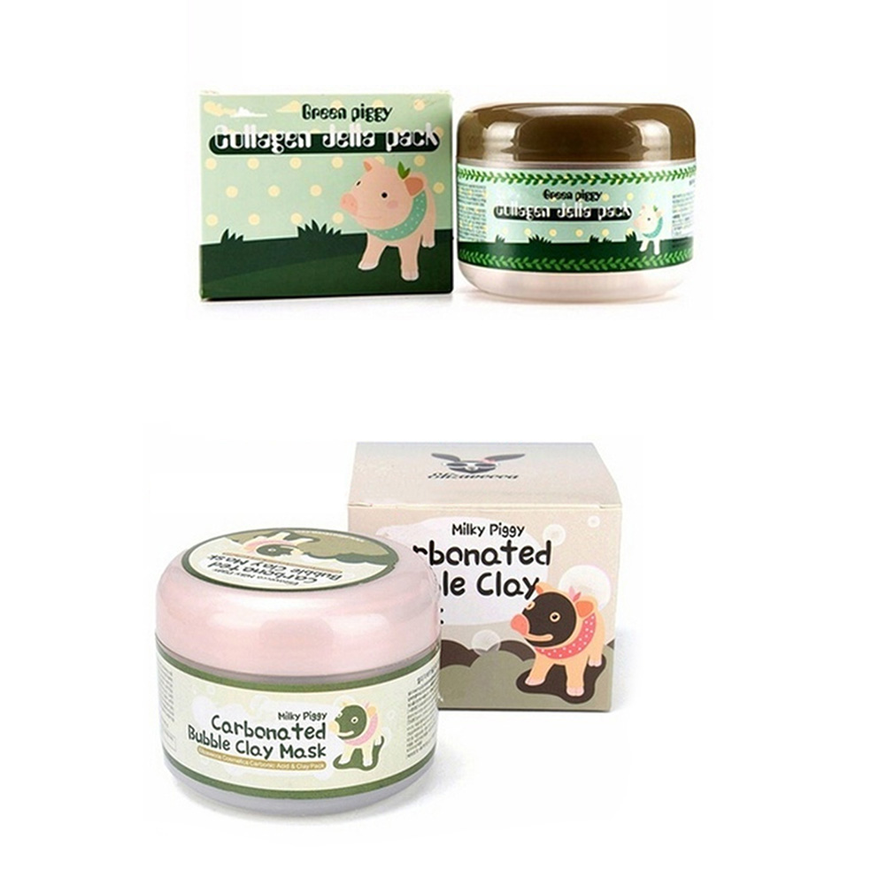 Beauty & Health Bioaqua 2pcs Little Pig Pigskin Collagen Nourishing Mask Carbonated Bubble Clay Face Mask Moisturizing Whitening Skin Care Set