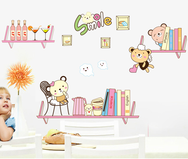 Cartoon Bookshelf Book Bear DIY Wall Sticker Home Decals Wall Decal Home Decortaion Wallpaper Kids Room Bedroom Nursery Room