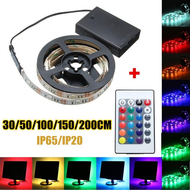 30/50/100/150/200 cm RGB LED Bande Lumière 5050 SMD Batterie Étanche/Non-imperméable à l'eau LED Bande Flexible Lumière Télécommande