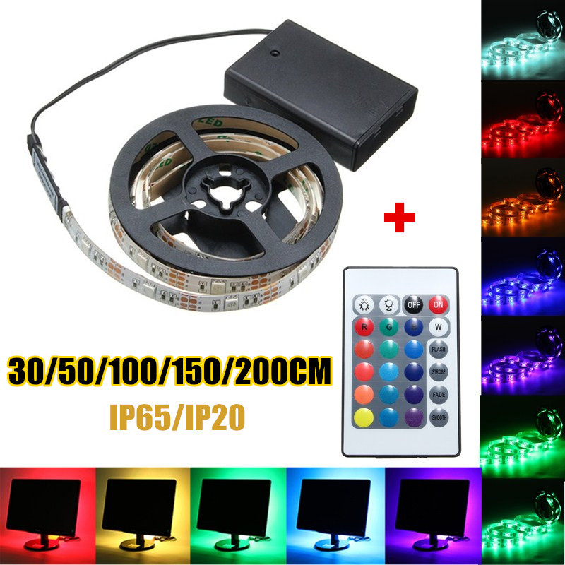 30/50/100/150/200cm RGB LED Strip Light 5050 SMD Battery Waterproof/Non-Waterproof LED Flexible Strip Light Remote Control