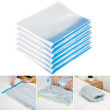 New Folding Vacuum Bags Hand Roll Clothes Compressed Storage Bag Wardrobe Travel Space-saving Transparent Sealed 2019