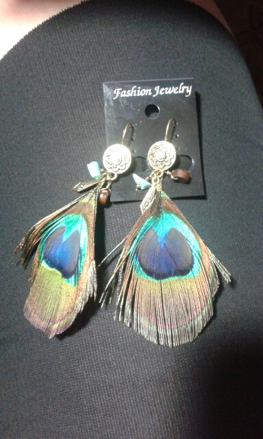 Natural Peacock Feather Earrings photo review