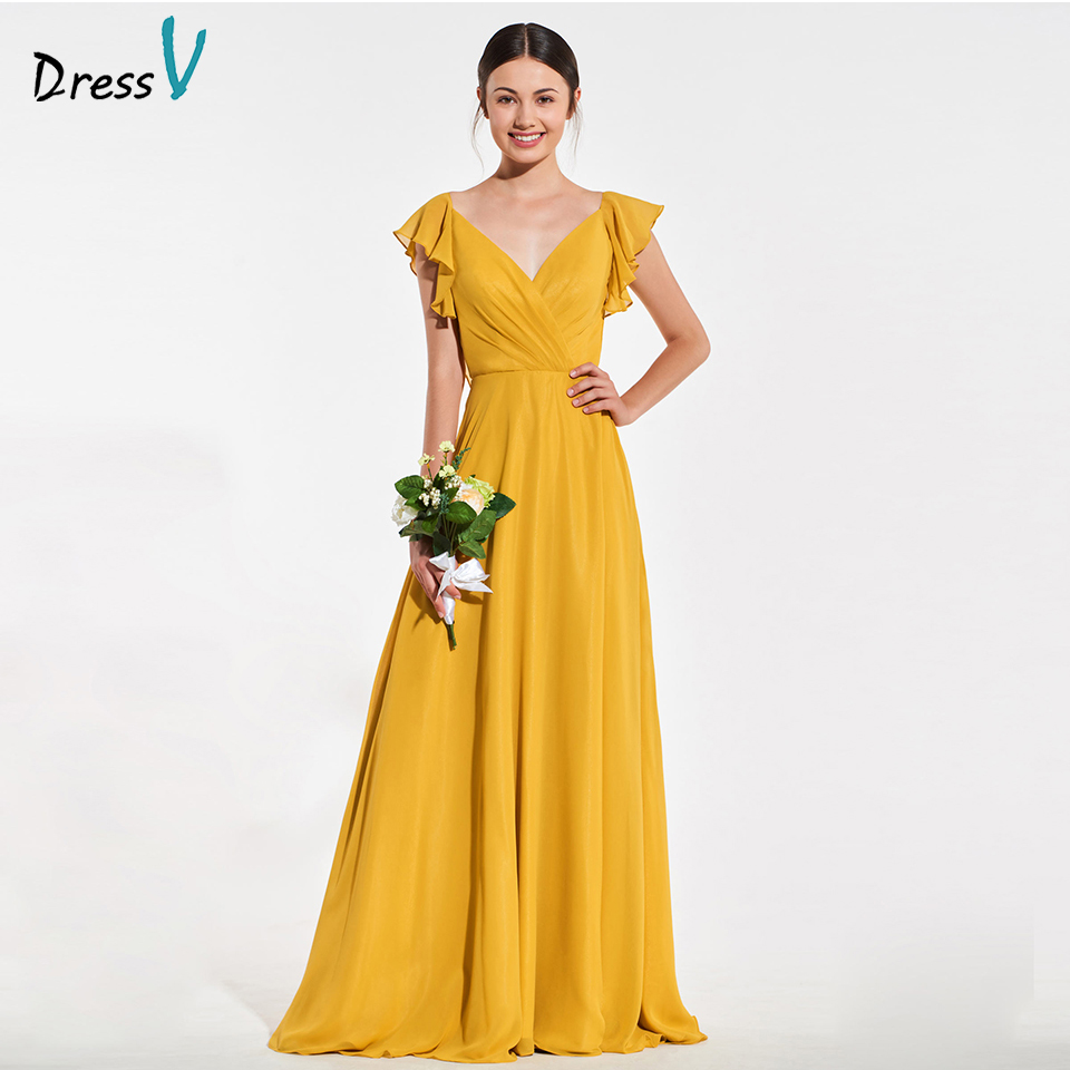 Dressv elegant golden v neck bridesmaid dress pleats ruffles a line wedding party women floor length bridesmaid dress