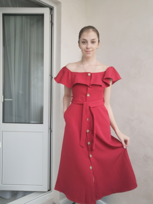 Summer Bandage Dresses Women New Short Sleeve Off Shoulder Sexy Beach Casual Dress Female Slash Neck Single Breasted Long Robe photo review