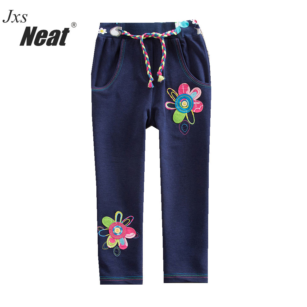PROPRE Bébé fille vêtements 2017 nouveau dessin animé de mode motif floral 100% coton fille bleu pantalon fille mignon vêtements quotidiens pantalon K720 #