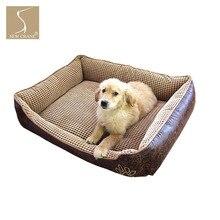 SewCrane Vintage gamuza Durable cachorro Cuddle perro cama para dormir con cubiertas lavables extraíbles, marrón
