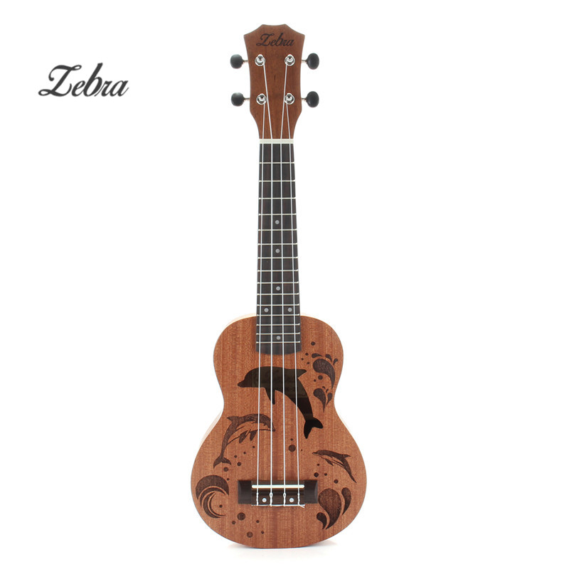 High Quality 21 Inch Sapele Dolphin Pattern Ukulele Hawaii Mini Guitar 4 Strings Uke Brown Rosewood Instrument Ukelele Gift savarez 510 cantiga series alliance cantiga normal high tension classical guitar strings full set 510arj