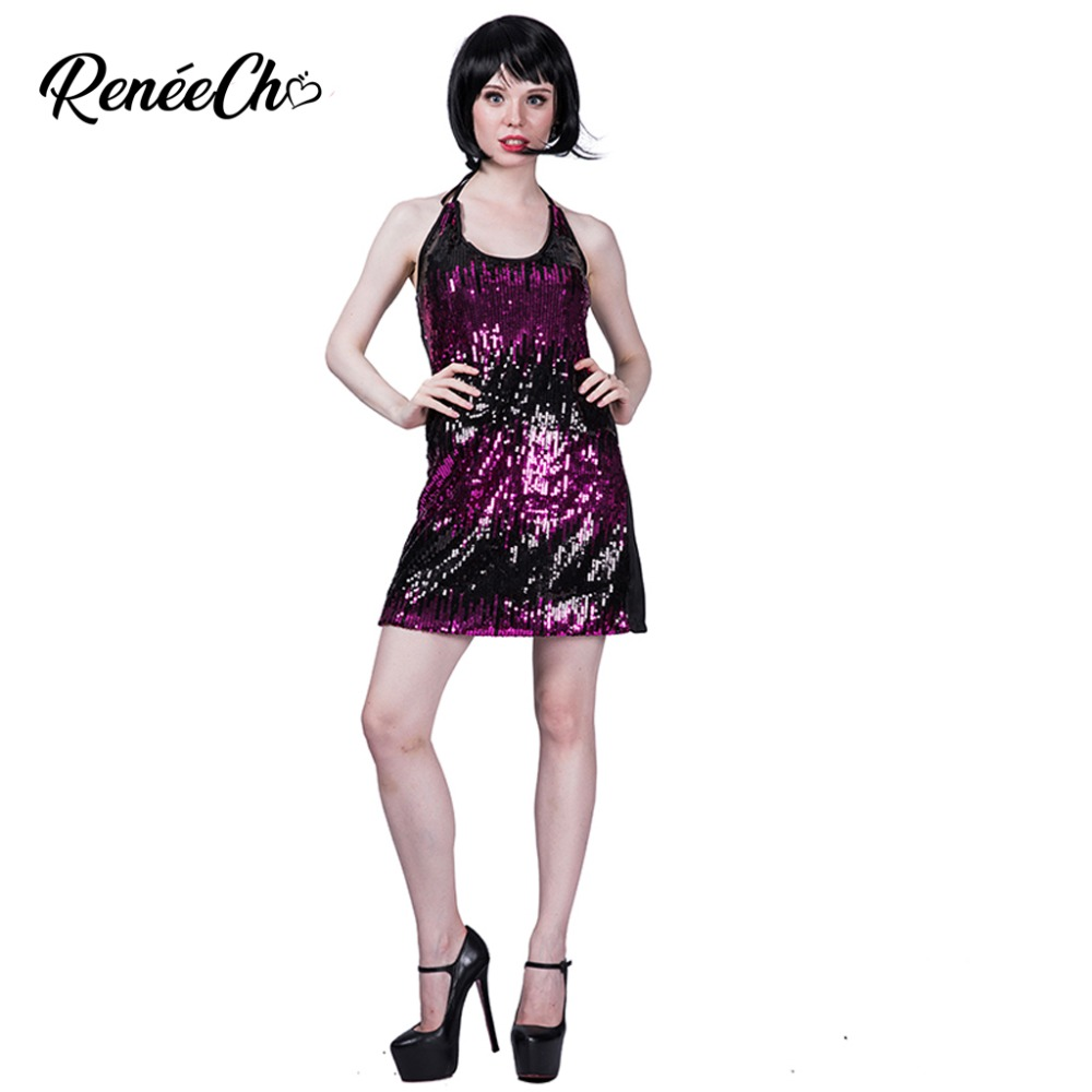 Halloween Costume For Women Lady Sequin Flapper Costume 1920s vintage Female Sexy Short Dance Disco Dress for music party