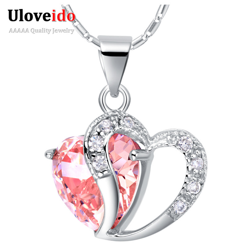 6edba9948501 Fashion Pink White Blue Purple Crystal Heart Pendants Necklaces for Women  Wedding Silver Color Jewelry Bijoux 15% off N673
