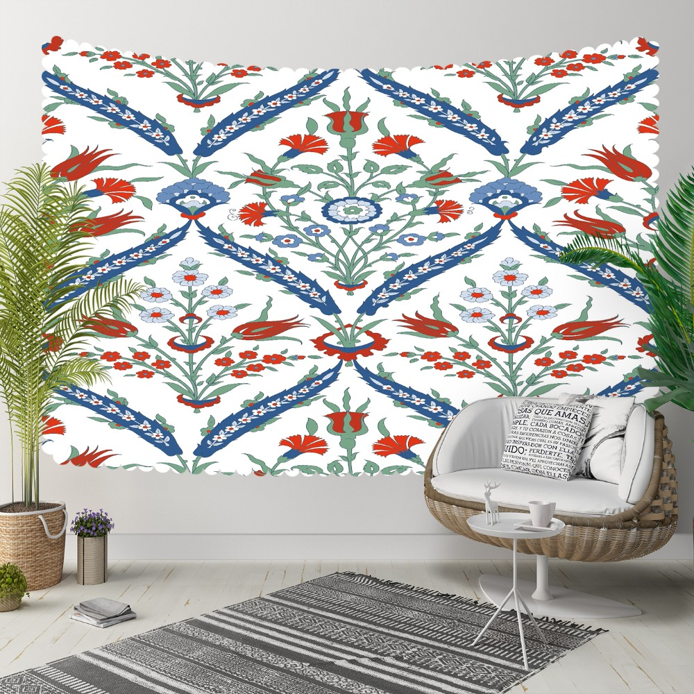 Else Blue Floral Geometric Red Cloves Flower Turkish 3D Print Decorative Hippi Bohemian Wall Hanging Landscape Tapestry Wall Art