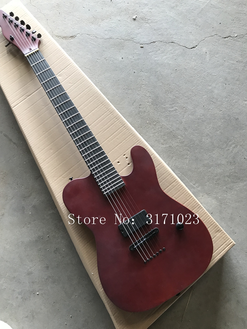 2018 Custom Shop Matte Red 7 Strings Electric Guitar One Piece Neck Ebony Fingerboard High Quality Free Shipping custom electric guitar metalic pink rosewood fingerboard high quality lp guitar free shipping