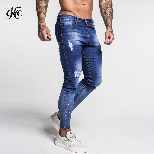 Dark Blue Ripped Jeans For Men  2
