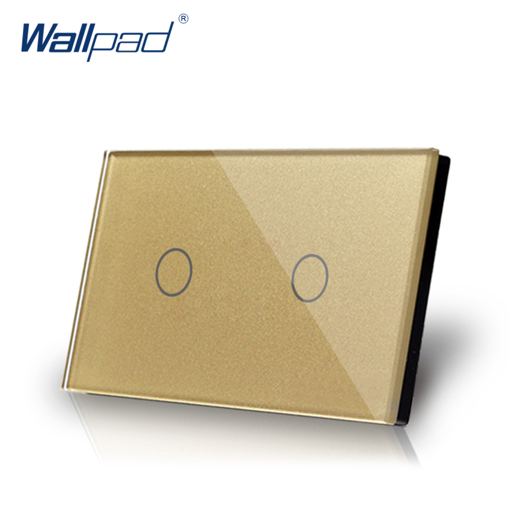 2 Gang 1 Way Touch Switch US/AU Standard Wallpad Luxury Crystal Gold Glass LED Indicator Touch Screen On/Off Light Wall Switch free shipping us au standard wall touch switch gold crystal glass panel 1 gang 1 way led indicator light led touch screen switch