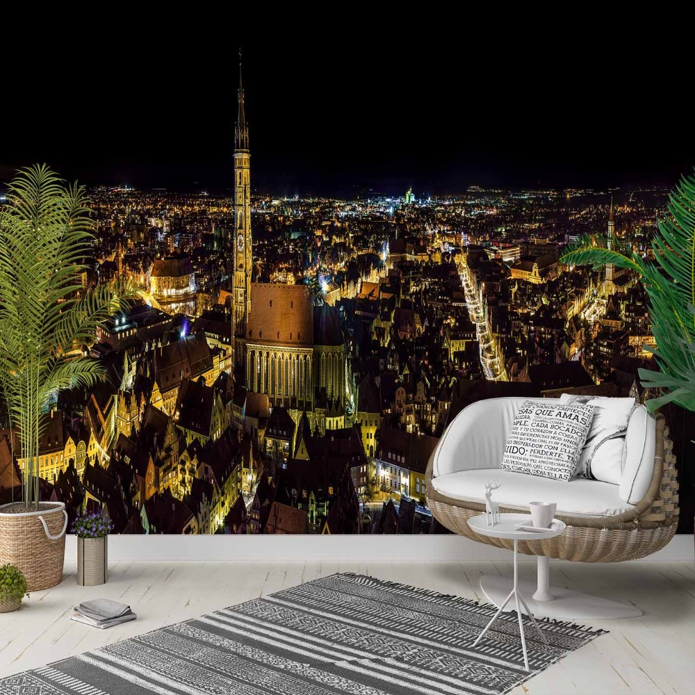 Else Night City Yellow Lights Landscape 3d Photo Cleanable Fabric Mural Home Decor Living Room Bedroom Background Wallpaper