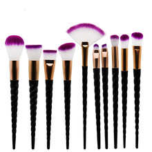10pcs Makeup Brush Set Black Spiral Handle Contour Base Powder Eyeshadow Brushes Purple Hair Foundation Lip Nose Brushes lovely 10pcs soft purple hair makeup brushes set purple handle cosmetic foundation eyeshadow blusher powder brush beauty tools