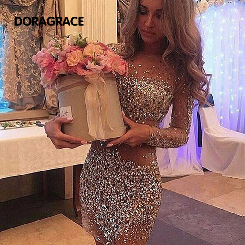 Gorgeous Long Sleeve Cocktail Dresses Crystal Beaded  Sexy See Through Tulle Short Party Dress DGC006