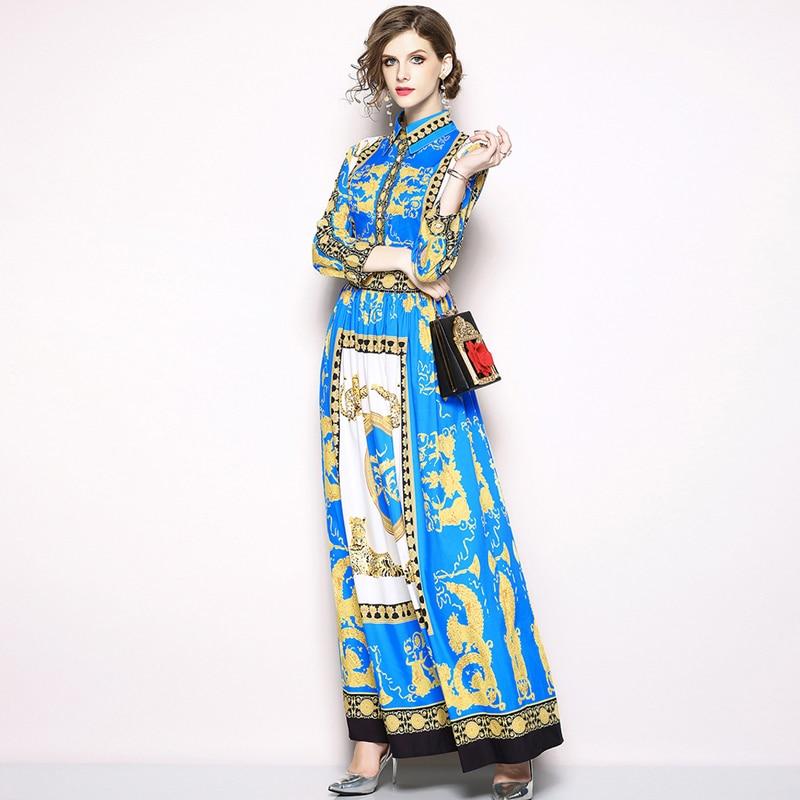 ZJYT Europe Style Fashion Women Autumn Maxi Dress Long Sleeve Elegant Turn Down Collar Retro Print Vintage Casual Holiday Dress