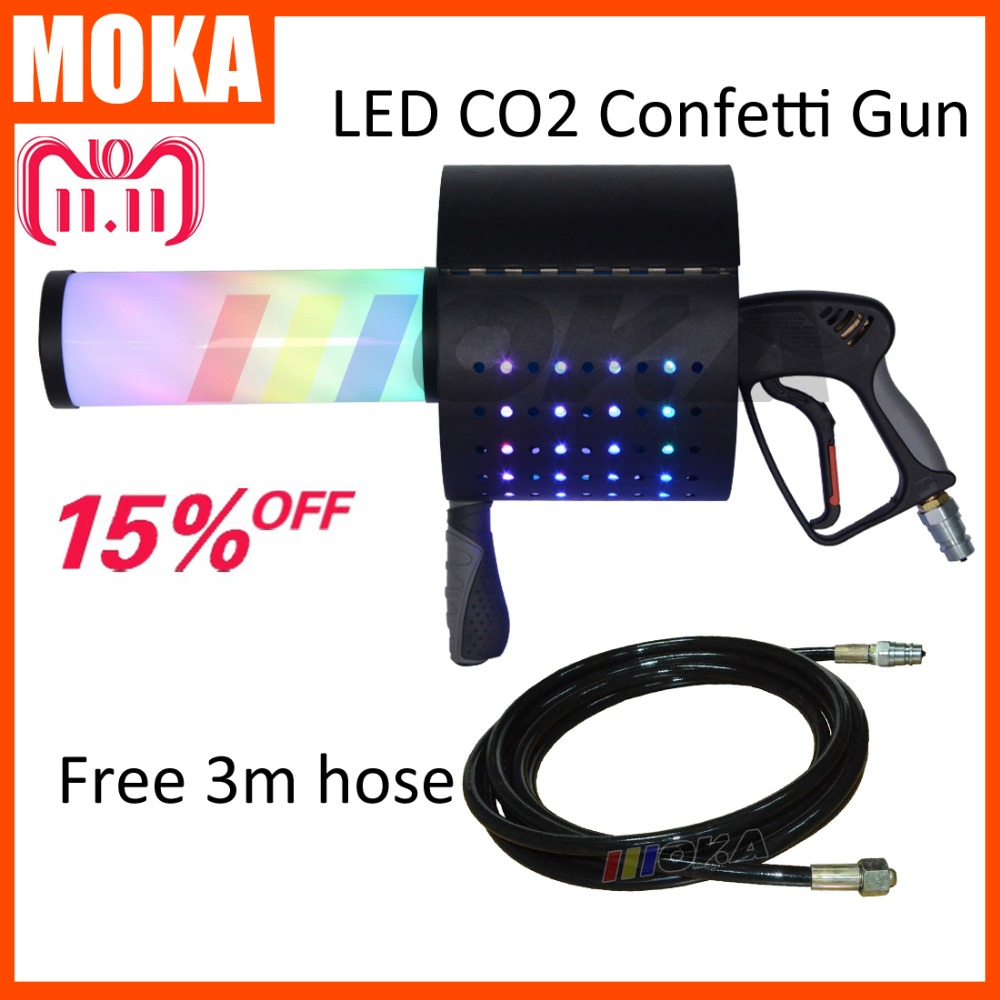 New coming LED CO2 Confetti Cannon super led co2 dj gun magic cryo fx co2 confetti machine gun led co2 jet machine free 3m hose led co2 confetti dj gun colorful manual control led co2 cryo jet confetti cannon machine for disco party wedding